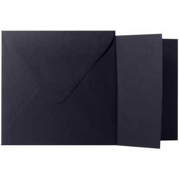 1 Briefumschlag Schwarz  Größe 15,5 X 15,5 cm 120g + Klappkarte 300g Größe 15 X 15 cm,
