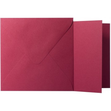 1 Briefumschlag Bordeaux  Größe 16 X 16 cm 120g + Klappkarte 300g Größe 15,5 X 15,5 cm,