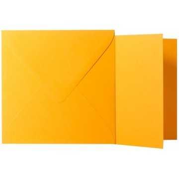 1 Briefumschlag Orange  Größe 14 X 14 cm 120g + Klappkarte 300g Größe 13,5 X 13,5 cm,