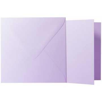 1 Briefumschlag Flieder  Größe 14 X 14 cm 120g + Klappkarte 300g Größe 13,5 X 13,5 cm,