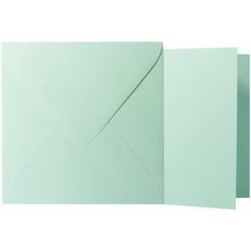 1 Briefumschlag Minze  Größe 13 X 13 cm 120g + Klappkarte 300g Größe 12,5 X 12,5 cm,