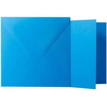 1 Briefumschlag Ozean Blau Größe 12,5 X 12,5 cm 120g + Klappkarte 300g Größe 12 X 12 cm,