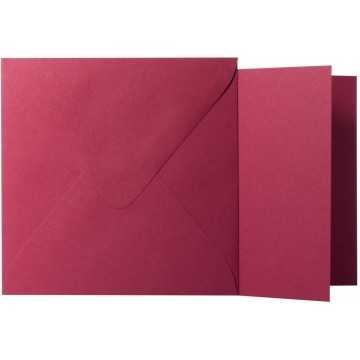 1 Briefumschlag Bordeaux Größe 12,5 X 12,5 cm 120g + Klappkarte 300g Größe 12 X 12 cm,