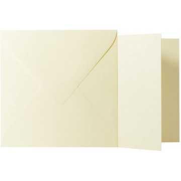 1 Briefumschlag Zart Creme Größe 11 X 11 cm 120g + Klappkarte 300g Größe 10,5 X 10,5 cm,