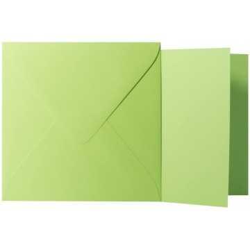 1 Briefumschlag Hell Grün Größe 10 X 10 cm 120g + Klappkarte 300g Größe 9,5 X 9,5 cm,