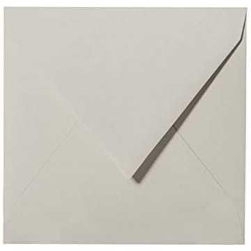 1- Briefumschlag 14,5 x 14,5 cm 145 x 145 mm Hell Grau mit Innenfutter ( Weiß ) Verschluss: feuchtklebend  Grammatur: 100 g/m²