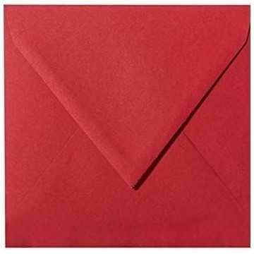 1- Briefumschlag 14,5 x 14,5 cm 145 x 145 mm Rosen Rot gerippt mit Innenfutter ( Weiß ) Verschluss: feuchtklebend  100 g/m²