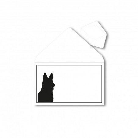 1 Trauerumschlag für Tiere (Hunde) B6 120 x 176 mm Polar Weiß mit Schwarzen Rahmen