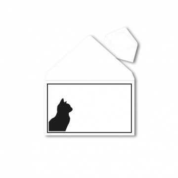 1Trauerumschlag für Tiere (Katze) B6 120 x 176 mm Polar Weiß mit Schwarzen Rahmen