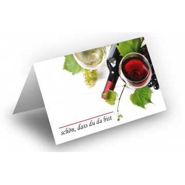 Wunderschöne Tischkarten (Wein u. Trauben) UV-Lack glänzend