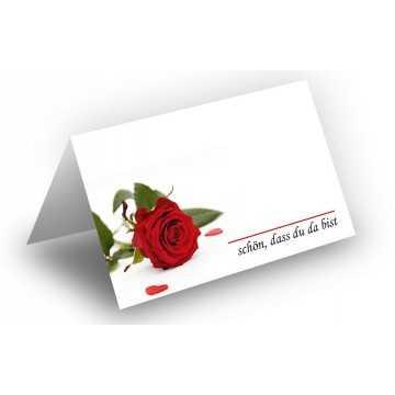 25 Wunderschöne Tischkarten (Rose mit Herzen) UV-Lack glänzend - für Hochzeit, Geburtstag,