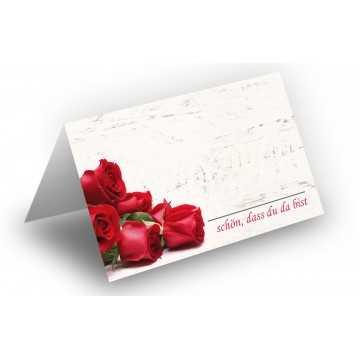 25 Wunderschöne Tischkarten (Rosenstrauß-Holz-Hintergrund) UV-Lack glänzend - für Hochzeit, Geburtstag,