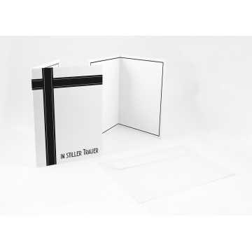 """Stielvolle Beileidskarten ,Trauerkarten + Umschlag """"In stiller Trauer""""(schwarz weiß ), A6,"""