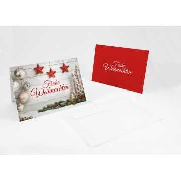 """Wunderschöne Weihnachtskarten +Umschlag """"Frohe Weihnachten mit Kugeln"""", A6,"""