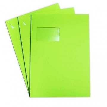 Versandtaschen DIN C4 Gras Grün 120 g/m² - 229 x 324 mm 22,9 x 32,4 cm - selbstklebend mit Abziehstreifen - mit Fenster