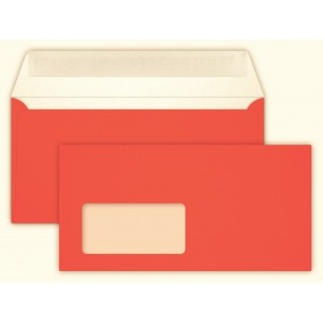 Briefumschläge NEON Orange Din lang 11 x 22 cm mit Haftstreifen,mit Fenster