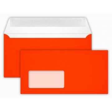 Briefumschläge NEON Red Din lang 11 x 22 cm mit Haftstreifen,mit Fenster