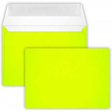 1-Briefumschlag C6 DIN (114-162 cm) - Neon Gelb, Verschluss-Technik: Querlasche mit Abziehstreifen ! Grammatur: 90 g/m²