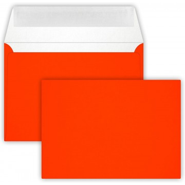 1-Briefumschlag C6 DIN (114-162 cm) - Neon Orange, Verschluss-Technik: Querlasche mit Abziehstreifen ! Grammatur: 90 g/m²