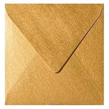 1 Briefumschlag 13,0 x 13,0 cm 130 x 130 mm Gold Verschluss: feuchtklebend