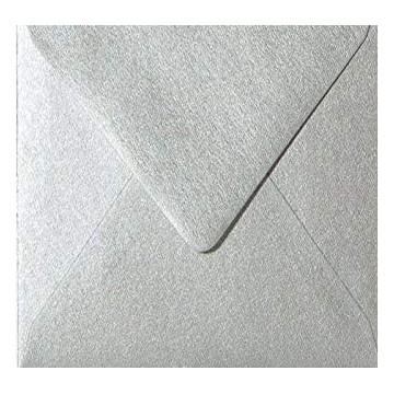 1 Briefumschlag 12,5 x 12,5 cm 125 x 125 mm Silber Verschluss: feuchtklebend