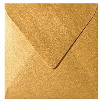 1 Briefumschlag 15,5 x 15,5 cm 155 x 155 mm Gold Verschluss: feuchtklebend
