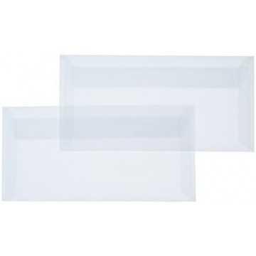 1 Briefumschlag Transparente/ Weiß Din lang 11 x 22 cm mit Haftstreifen