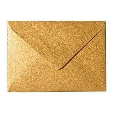 1 Briefumschlag Mini geeignet für Visitenkarten Gold 6 x 9 cm Verschluss-Technik: feuchtklebend